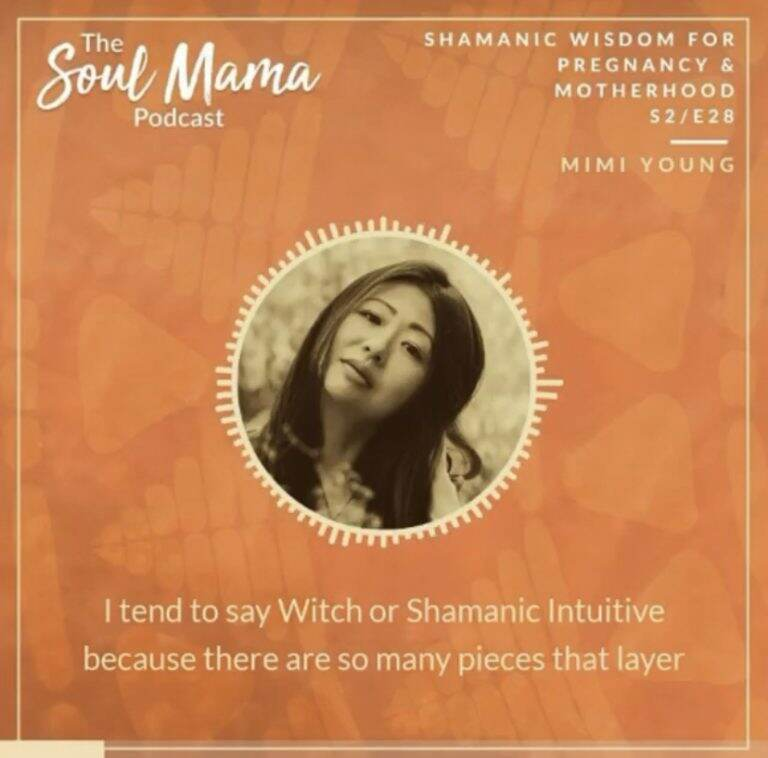 Portrait of Mimi Young, shamanic intuitive and occultist, on The Soul Mama Podcast graphic