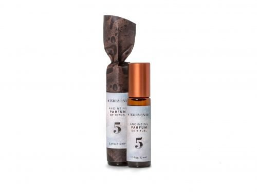 Ceremonie's Anointing Parfum No. 5 Manifestation made with fragrant plant oils in glass bottle with steel rollerball
