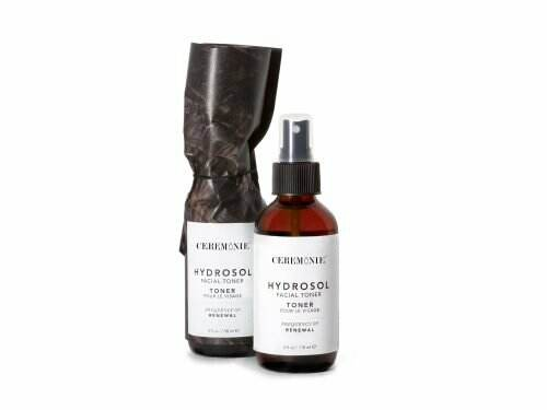 Ceremonie's Hydrosol Facial Toner made of plant actives in glass bottle with atomizer