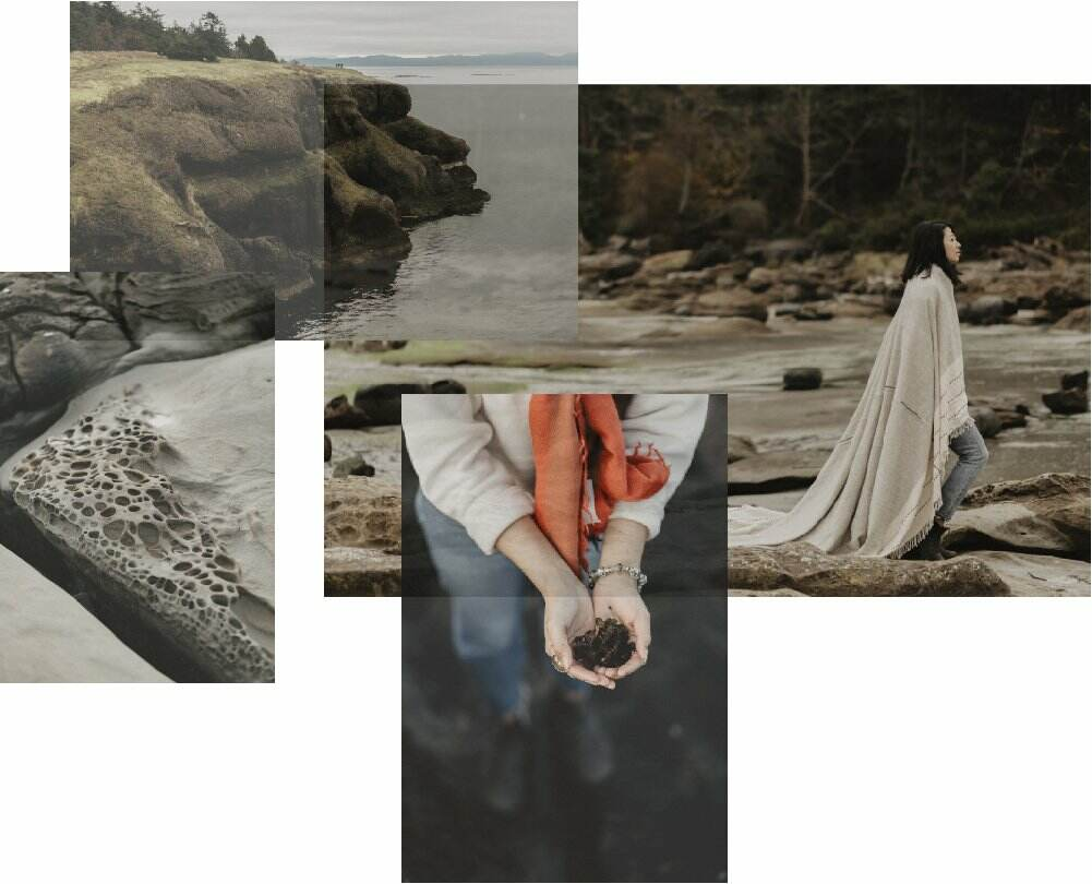Collage of cliffs, coastal scenes, and woman of colour in Nature