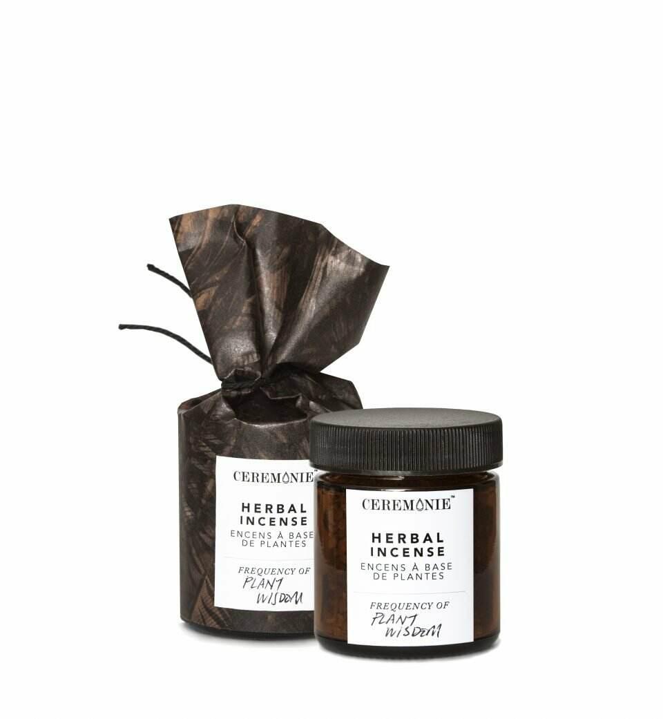 Glass jar of Herbal Ritual Incense: Plant Wisdom