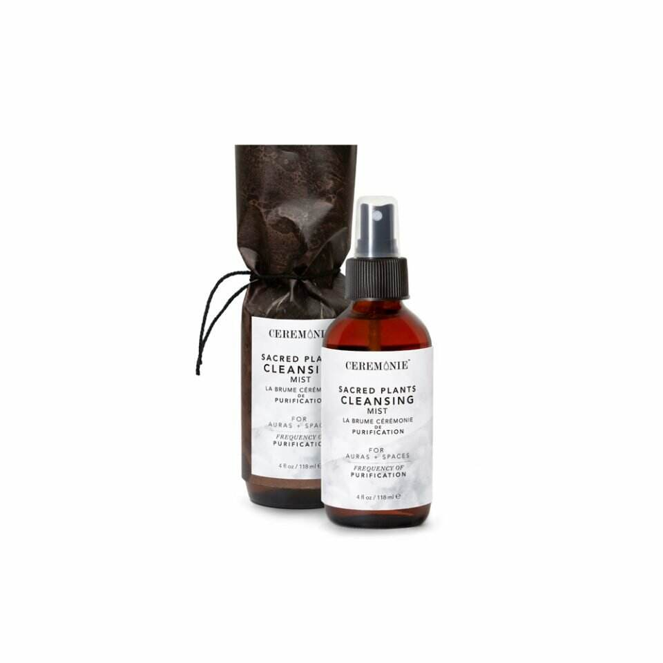 Sacred Plants Cleansing Aura Mist containing Canadian Red Cedar and other protective plants in glass bottle.