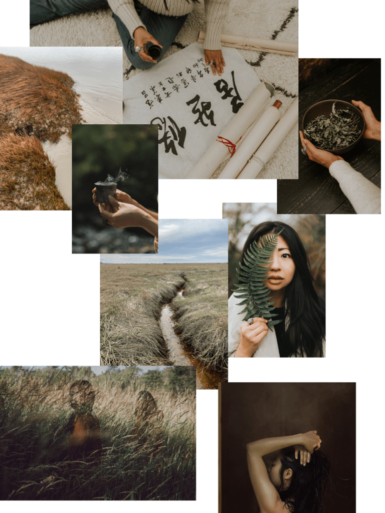 Collage of nature scenes, esoteric tools, WOC's face and body