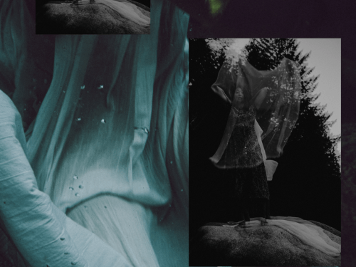 Impressionistic images of water, flowing fabric, and the female body
