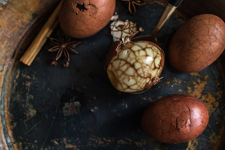 Cha Ye Dan also known as Chinese Tea Brined Eggs, show off a beautiful stain glassed effect in the eggs through the tea brining process