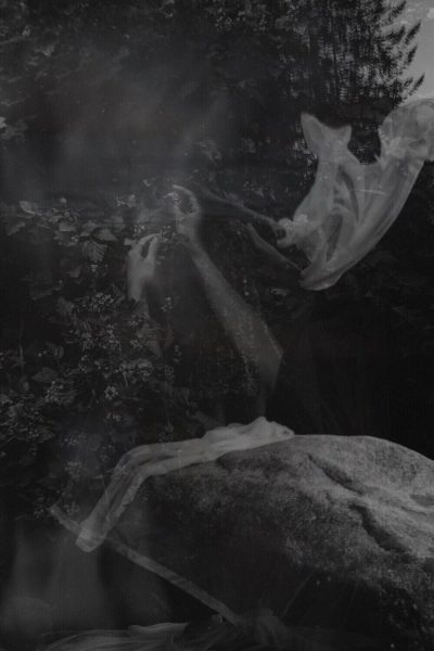 Black and white illustrative photography of hands, flowy fabric, trees and shrubs, and a barren rock